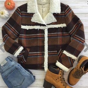 🆕 Maurices Plaid Flannel Sherpa Lined Jacket Coat